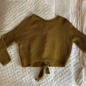 Tie-back knit sweater